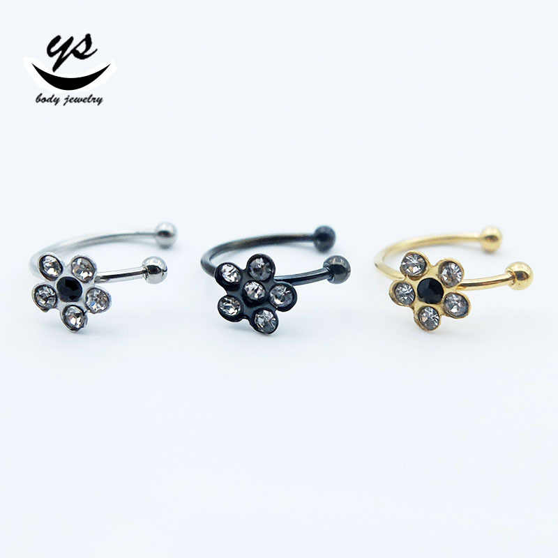 6PC Stainless Steel Circular Fake Nose Rings C Shape Punk Small Thin Clear Gem Flower Lip Ear Nose Clip On Fake Piercing Jewelry