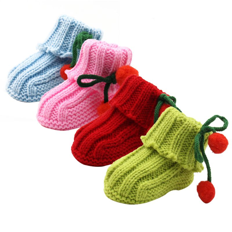 Infant Toddler Girls Winter Warm Crochet Knit Fleece Booties Bow Snow Shoes Baby Walker Crib Boots