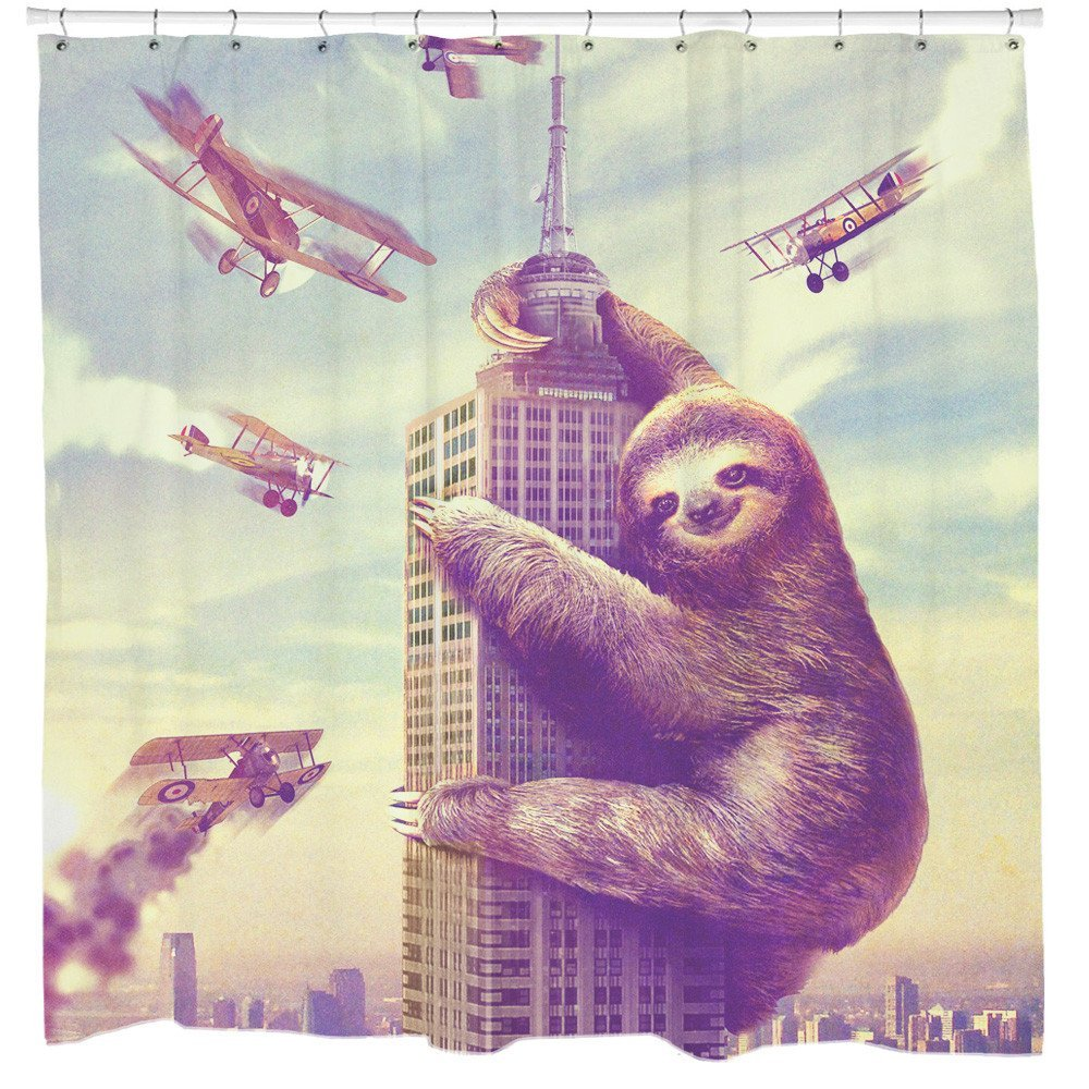 Slothzilla Funny Geek Shower Curtain Sloth Climbing In New York Animal Decor