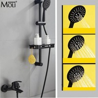 Bath Shower Faucet with Sliding Bar Bath Shower Set Bathtub Faucet Black Hot and Cold Water Mixer with Soap Basket MLB501B