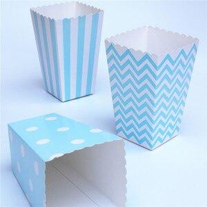12pcs Popcorn box colorful chevron stripes dot Gold Gift Box Party Favour Wedding Pop corn kid party decoration bags loot(China)