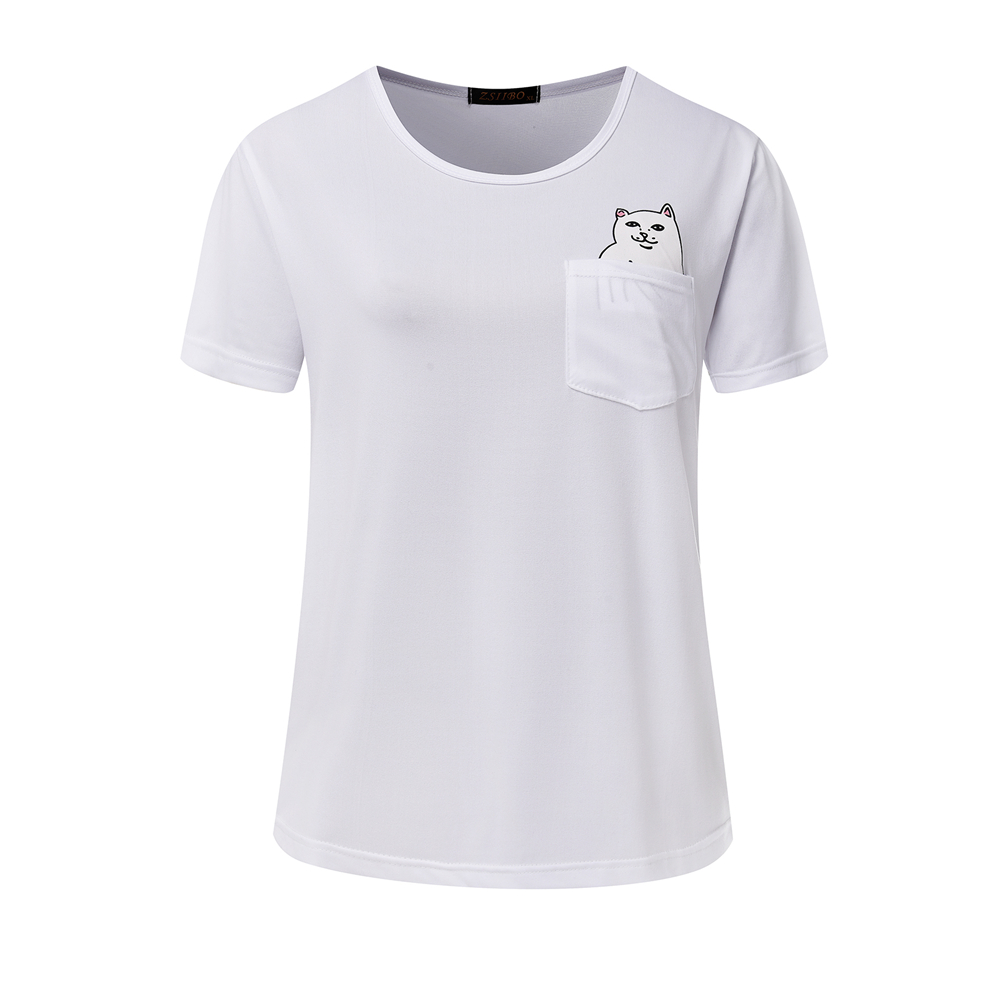 2018 summer new cute cartoon kitten print T-shirt casual round neck short-sleeved solid color women's large size 3 color choice