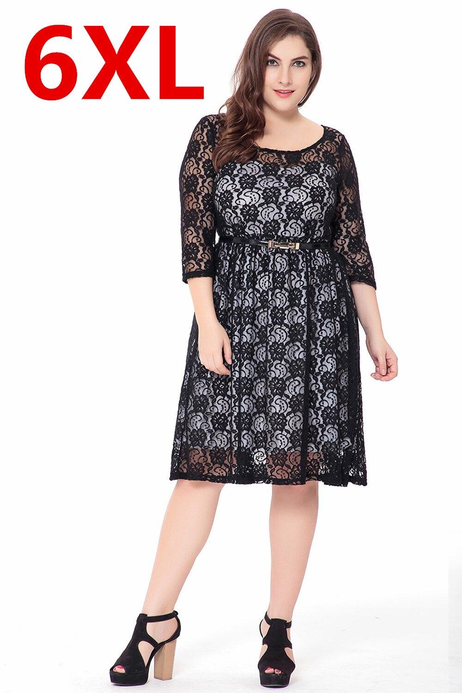fashion big size 6xl black lace dresses lovely sweet dress casual