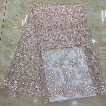 Tollola Pink Tulle Lace Fabric African Embroidery Laces High Quality Flower 3D Applique French Lace Fabric With Sequins