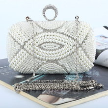 New 2016 Fashion High-grade Diamond Evening Bag Handmade Rhinestone Bling Banquet Bag Wedding Party Bag with Shoulder Chain