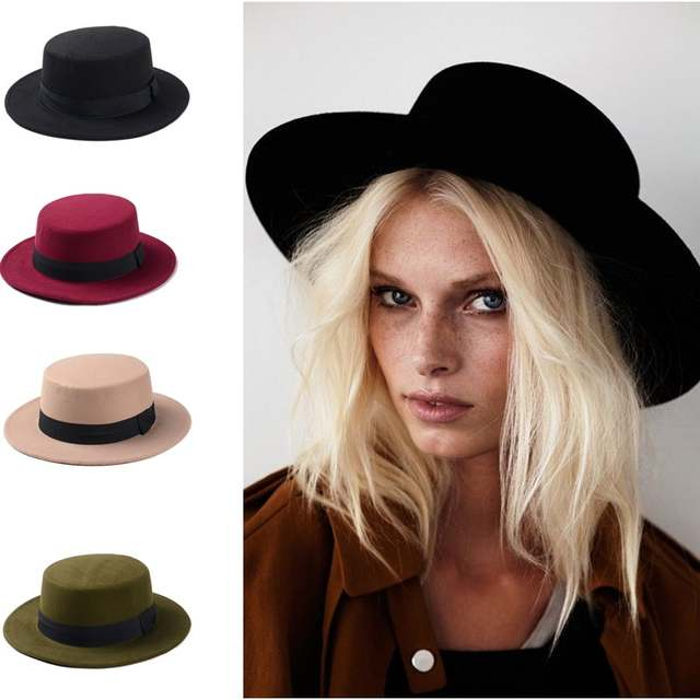 f3cdc380310 placeholder 100% Wool Boater Flat Top Hat For Men s Women Winter Auturmn  Felt Wide Brim Fedora