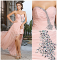 Sexy Fashion Party Gown Vestido De Festa 2017 New Sweetheart Beading Front Short Long Back Chiffon Long Evening Dresses OL33089