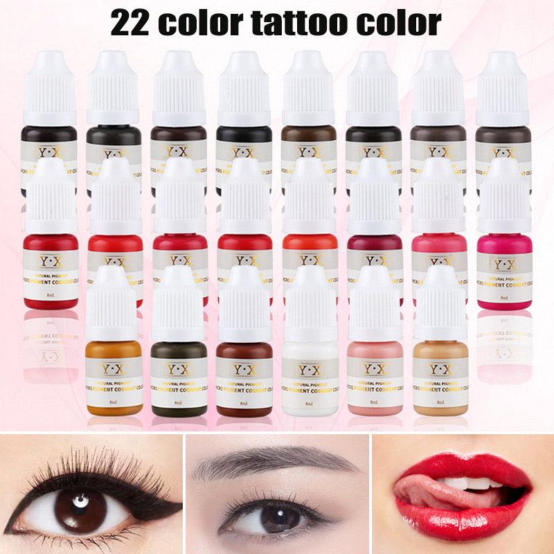 22 Color Semi Permanent Makeup Eyebrow Inks Lips Eye Line Tattoo Color Microblading Pigment Eyebrow Tattoo Color Inks(China)