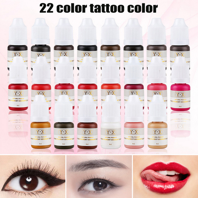 22 Color Semi Permanent Makeup Eyebrow Inks Lips Eye Line Tattoo