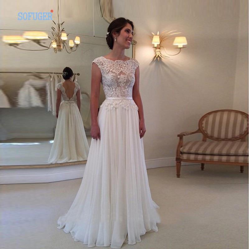 2016 hot sale custom made scoop wedding cheap vestido de for Adding cap sleeves to a wedding dress