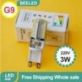 6PCS/Lot G9 Led Bulb Lamp 220V 64LEDs 3W LED Spotlight 3014 SMD White LED Corn Bulb Light Corn light 360 free shipping wholesale