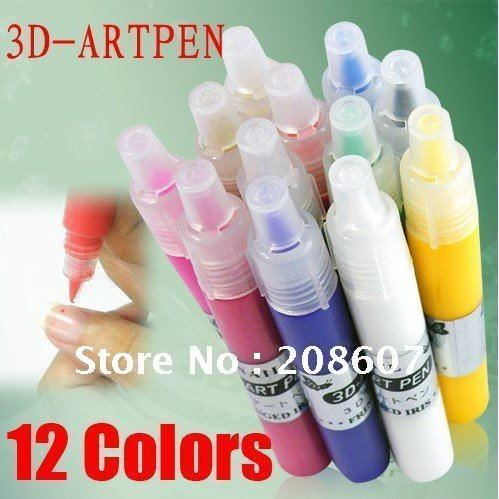 3D Nail Art Pen FreeShipping 12 color/Set 3D Art Pen Painting Tools Nail Art Polish Pen