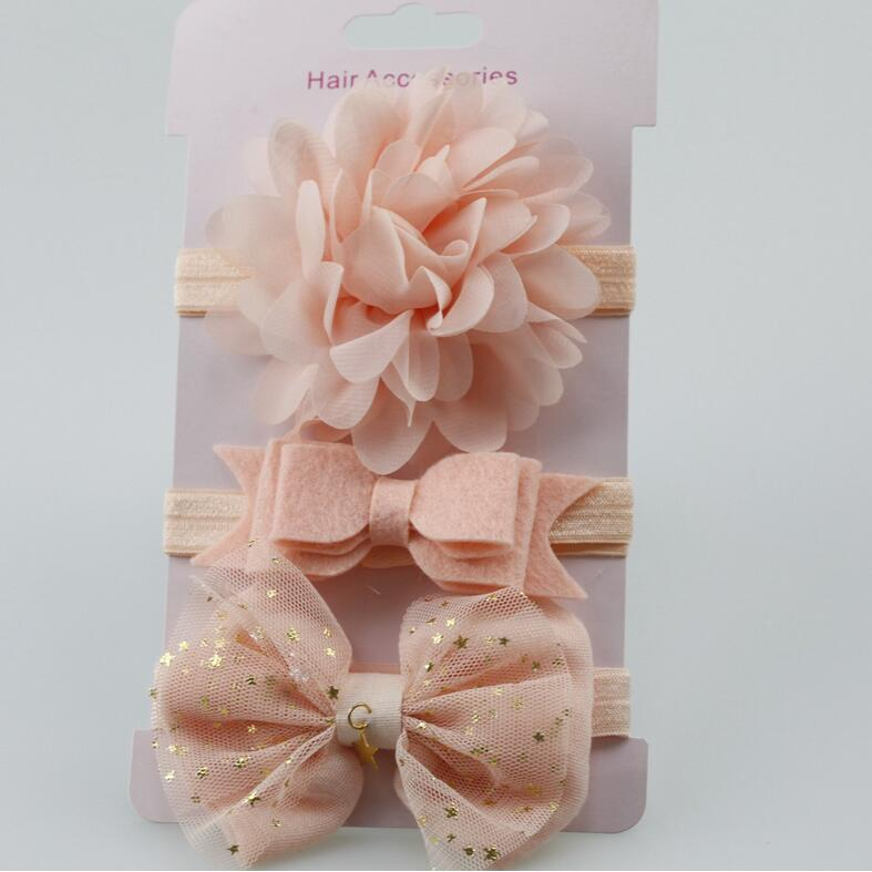 hot sale 3pc new baby girl elastic flower headband children skinny stretchy Bowknot elastic hair Band hair accessories for kids hot sale hair accessories headband styling tools acessorios hair band hair ring wholesale hair rope