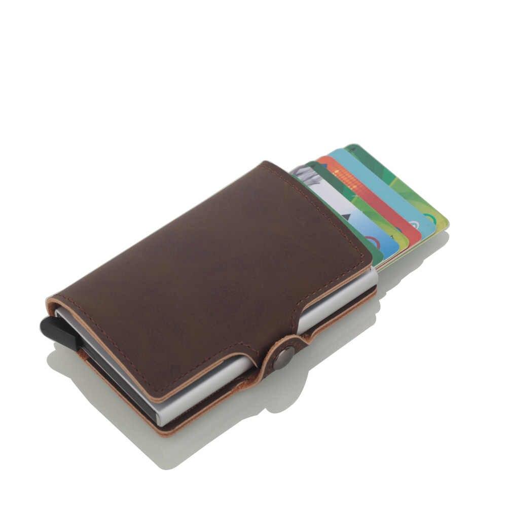 Новинка 2019, мужской держатель для карт, RFID, алюминиевый сплав, держатель для кредитных карт, металлический кожаный кошелек, Противоугонный мужской автоматический Чехол для карт