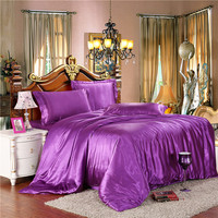 Juwenin Home Twin/Full/Queen/King Silk Bedding Quilt/Duvet Cover Sets,Wine Red(Gold,Silver) Satin Silk Bedding Sets