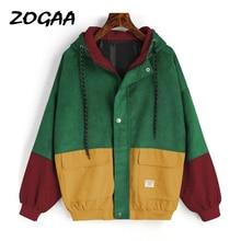 ZOGAA 2019 Hooded Corduroy Jacket Windbreaker Pocket Color Patchwork womens Bomber coat autumn winter thickened jacket women