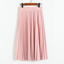 Primavera y otoño nueva moda mujeres de alta cintura color sólido plisado falda elástica de largo medio promociones señora negro rosa