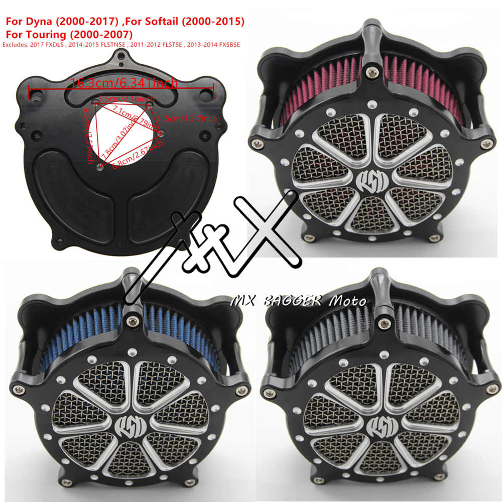 RSD Motorcycle Air Filter Cleaner Venturi For Harley Dyna 2000-2017 Touring 2000-2007 Softail 2000-2015 Gray Blue Red Element Harley-Davidson Sportster