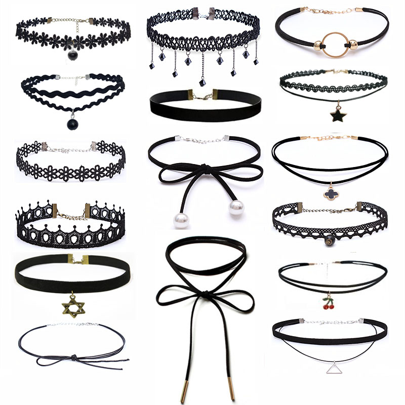 Choker Necklace Jewelry Velvet Strip Women Collar Party Black Fashion Boho 25-Style