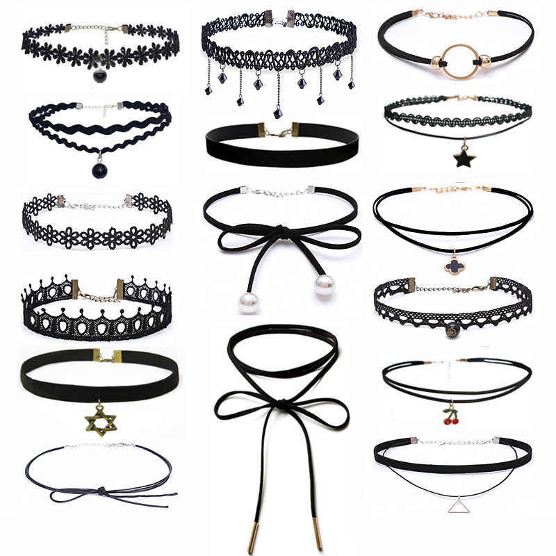 25 Style  Fashion BOHO Choker Necklace Black Lace Leather Velvet Strip Women Collar Party Jewelry Neck Accessories Chokers