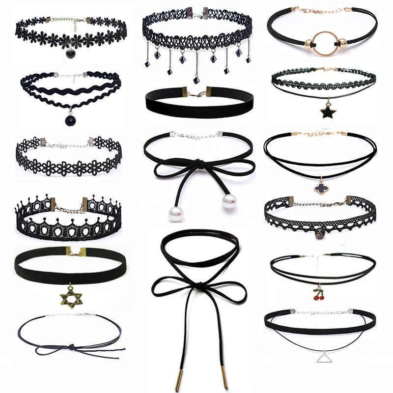 25 Gaya Fashion BoHo Kalung Kalung Hitam Renda Kulit Beludru Strip Wanita Kerah Pesta Perhiasan Leher Aksesoris Kalung Choker