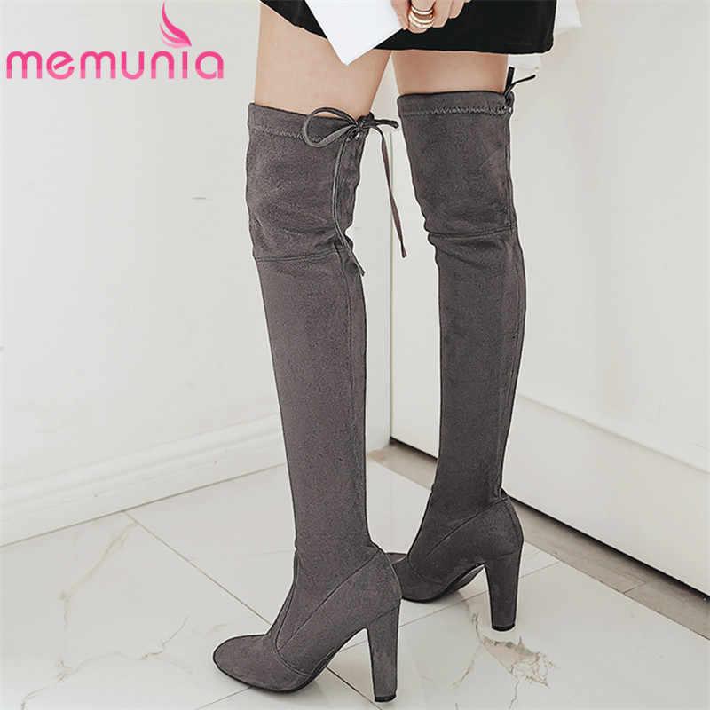 MEMUNIA 2020 yeni moda yüksek topuk diz çizmeler üzerinde kadın uyluk yüksek çizmeler lace up sonbahar kış uzun çizmeler bayanlar büyük boy 46