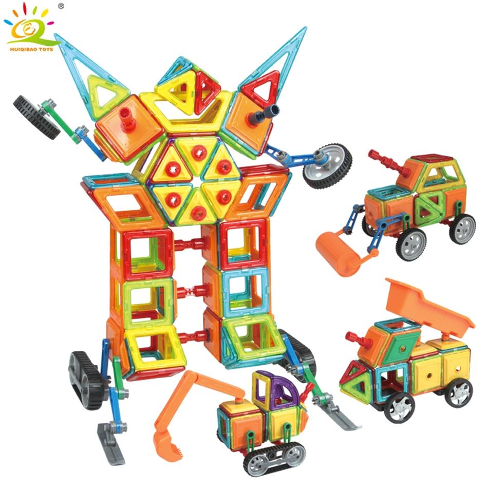 75PCS Engineering Track Magnetic Constructor Designer Children Building Blocks Toys DIY 3D Educational DIY Bricks For Boys Girls