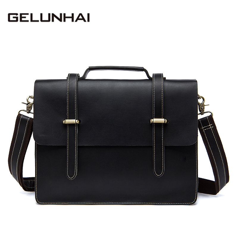 2017 Real High Quality Genuine Leather Men Bags New Briefcase Men's Messenger Shoulder Bag Crazy Horse Crossbody Handbags 1036 vintage genuine leather men briefcase bag business men s laptop notebook high quality crazy horse leather handbag shoulder bags