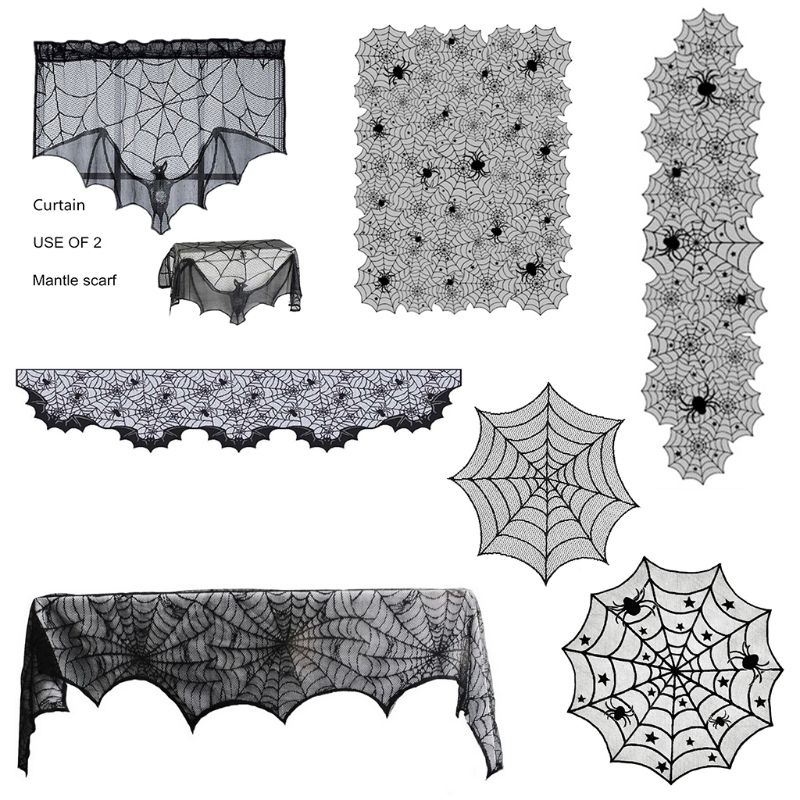 Halloween Spider Web Black Table Runner Lace Tablecloth Cover Party Table Decor hearth