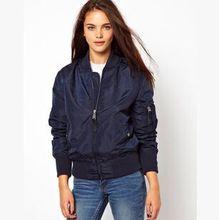 Hot Sale 2015 New Army Green Flight Ladies Jackets Long Sleeve Stand Collar Womens Coats Plus Size Slim Zipper Coat Women Jacket
