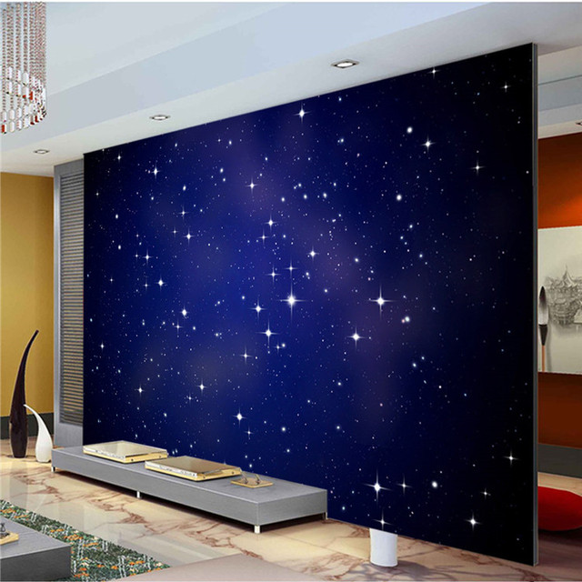 Custom Large Photo Wallpaper Romantic Starry Night Wall Mural Nature  Landscape Art Wall Painting Kid Room Part 5
