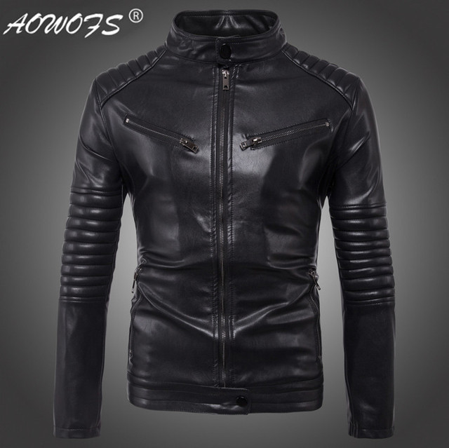 de5b0570e61ac Dropshipping Leather Jacket Men Autumn Slim fit Faux leather jacket  Motorcycle Bomber Leather Jackets Coats Big