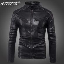 ad8b603ab522 Dropshipping Giacca di Pelle Uomo Autunno Slim fit Faux giacca di pelle  Moto giacca di Pelle Bomber Giubbotti Cappotti di Grandi.