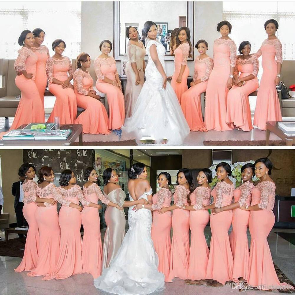Arabic african coral long bridesmaid dresses with half sleeves arabic african coral long bridesmaid dresses with half sleeves plus size lace mermaid party dress beautiful bridal gowns in bridesmaid dresses from weddings ombrellifo Images