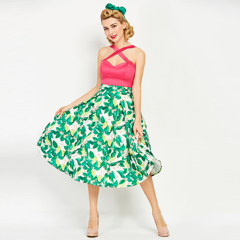 Sisjuly Women S Vintage Dress Summer Green Lemon Print Off The Shoulder Sexy Party Dress Strapless