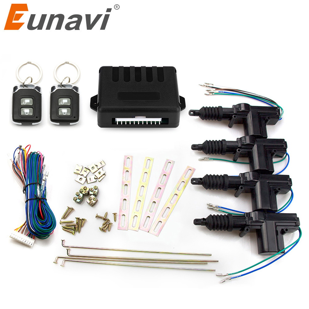 Eunavi universal car power door lock actuator 12-Volt Motor (4 Pack) Car Central control Remote Locking Keyless Entry System door lock motor general purpose actuator kit door lock motor keyless entry concentrated for universal car 12 v power door lock