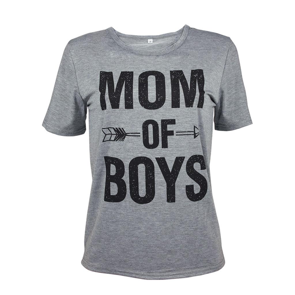 Летние модные женские туфли Повседневное футболки Письмо мамы мальчиков Футболка короткий рукав Футболка Леди Топы