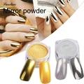 glitter Metallic Mirror powder Effect Holographic Chrome Powder Sponge Stick Mirror Powder Bling Pigment for Nail Art 6 Color