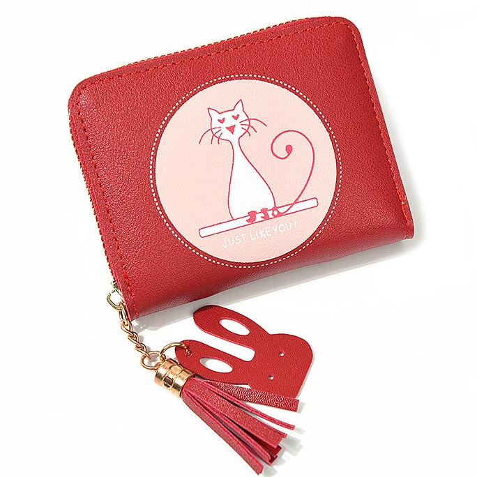 Zipper Coin Purse Short Women Wallet ID Cards Holder Cat Prints Woman Wallets Moneybags Lady Tassels Purses Notecase Mini Bags