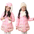 children winter jackets for girls winter child wadded jacket baby girl thermal thickening hood medium-long coat Floral jacket