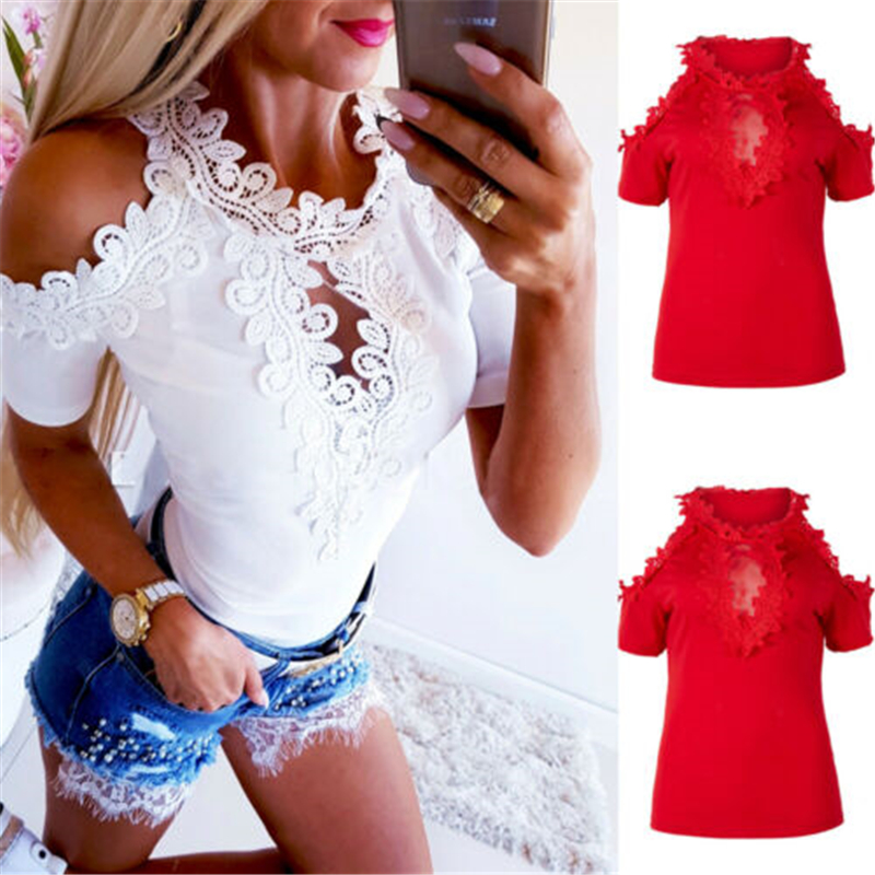 Women Cold Shoulder Shirt Tops New Fashion Ladies Short Sleeve Lace Hollow Out Summer Solid Casual Shirts Blouse