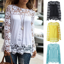 Chiffon Lace Blouse Shirt Plus Size 6XL 7XL Embroidery Patchwork Women Casual Long Sleeve Ladies Loose Tops Shirts Female Blusas