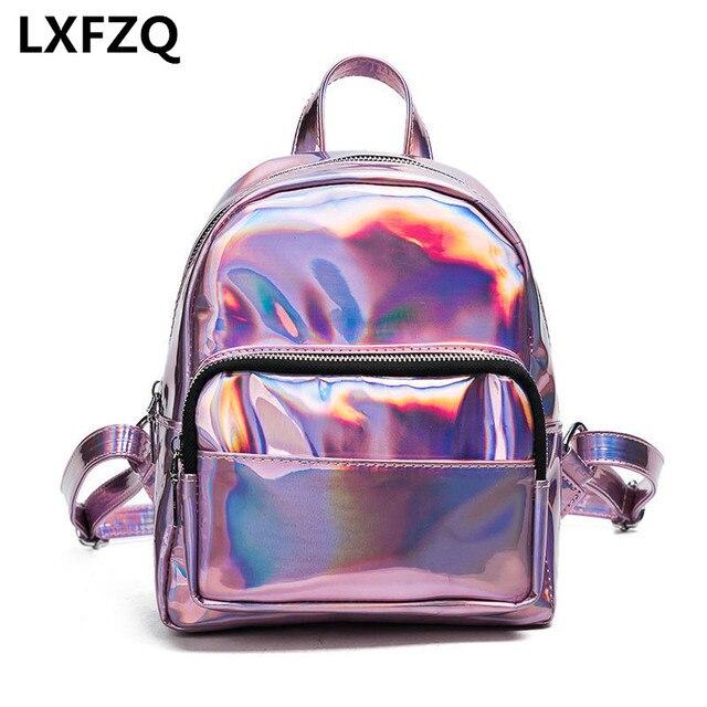 f9e97f31b32 Mochilas para niñas adolescentes rugzak láser PVC mochila femenina de moda  para mujeres mochila escolar para
