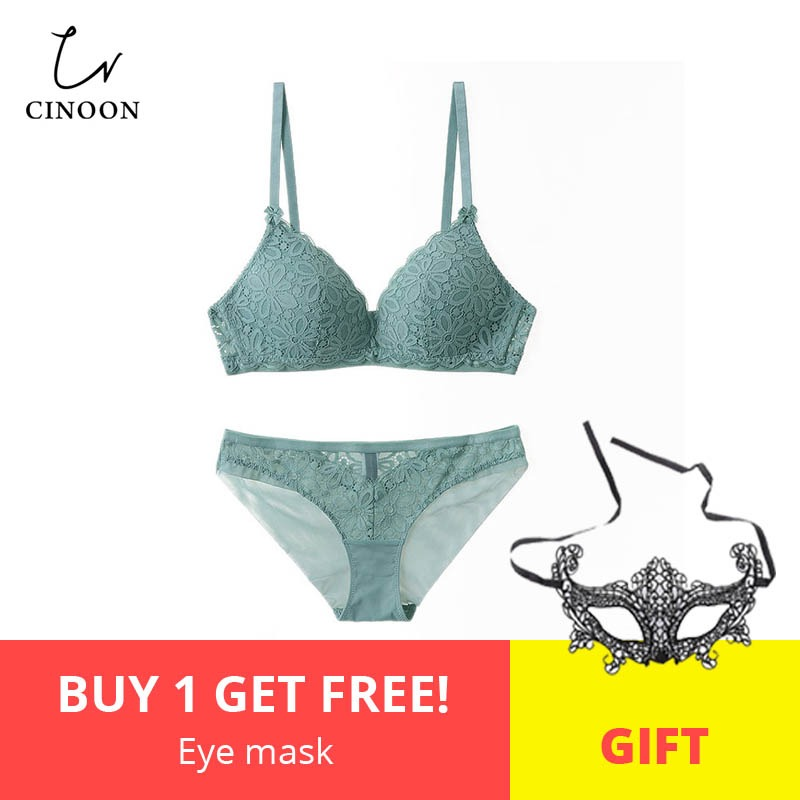 CINOON Sexy Lace 3/4 Cup   Bra     Sets   For Women Wireless Thin Cotton Breathable Comfortable Underwear Solid color Lingerie   Set