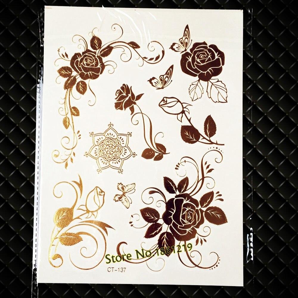 ᐊ25 Style Sexy Rose Flower Metaliczny Błysk Tatuaż Dla Kobiet