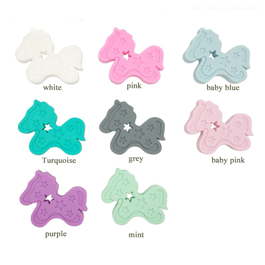 10pcs mint color Baby Charms horse Teether DIY Crafts Rattle Silicone pony Teether star trojan Silicone Teether Pendant BST02
