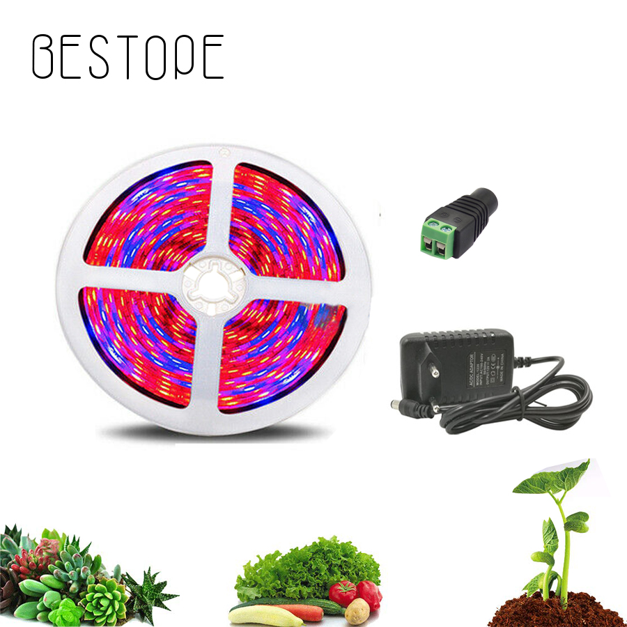5 M LED Phyto Lamps Full Spectrum LED Strip Light With DC 12 V Adapter 300 LEDs 5050 Chip LED Hydroponic Grow Lights For Plant