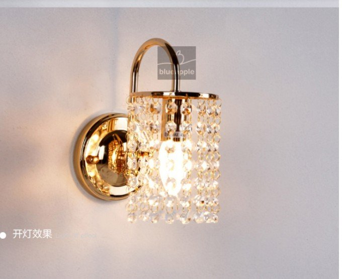NEW Gold/Silver Crystal Wall Lamp Light Sconce Lighting Chrome Finish bed-lighting crystal E14 wall mounted lights 110V/230V free shipping crystal wall lamp gold modern bed lighting fashion wall mounted lamps e14 wall sconces