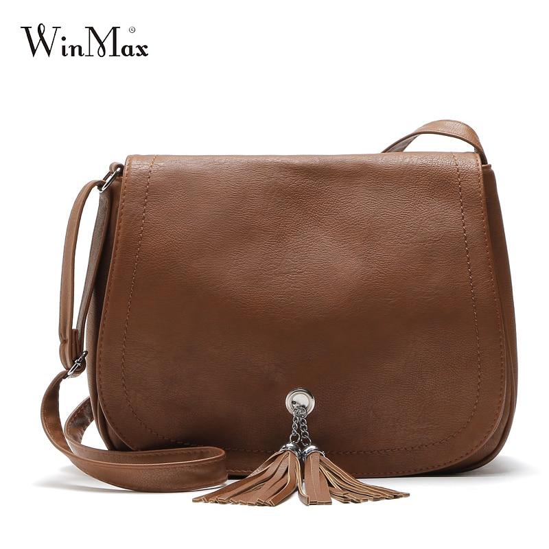 Winmax Hot Sale Tassel Women Bag Leather Handbags Cross Body Shoulder Bags Fashion Messenger Bag Women Handbag Bolsas Femininas hot women messenger bags cross pattern women bags mini women shoulder bag 17mar06
