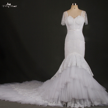 RSW769 Manga Curta Lace Branco Sereia Catedral Trem Vestidos de Casamento Real Da Foto